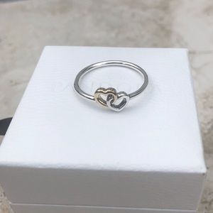 PANDORA HEART TO HEART RING TWO TONE. 925 ALE